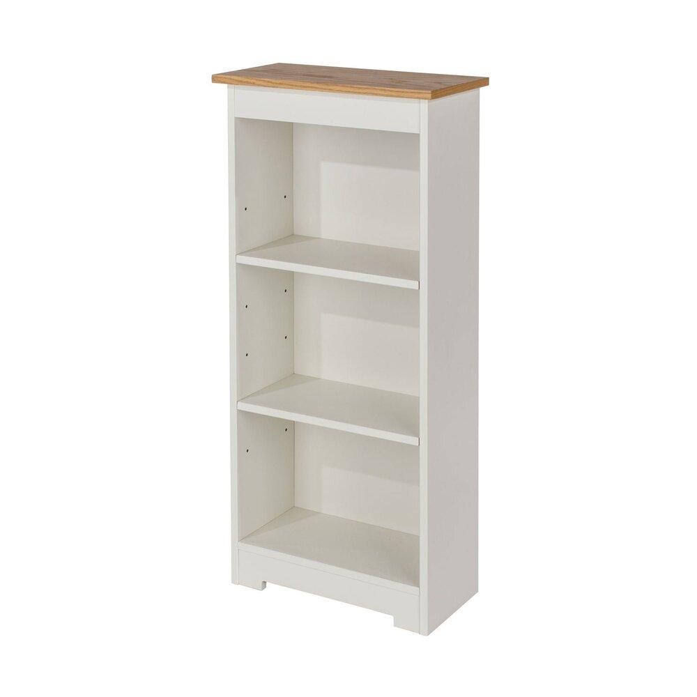 bibliotheque basse 2 etageres 44x21 5x100 cm blanc et chene ulla
