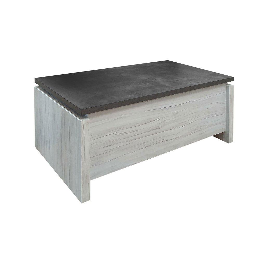 table basse avec plateau relevable gris et beton sentia