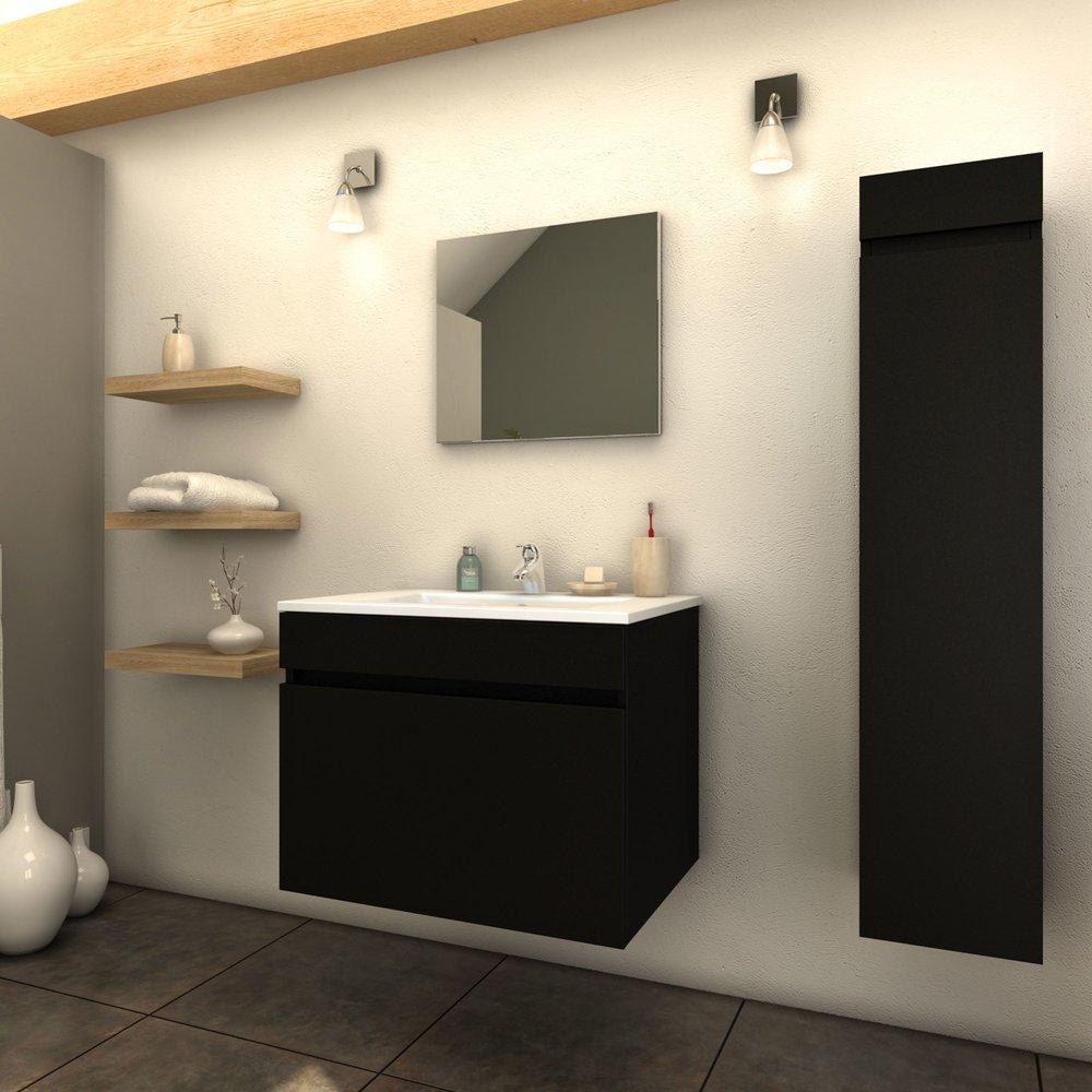 ensemble meuble 60 cm 1 colonne 1 vasque laque noir mat clark