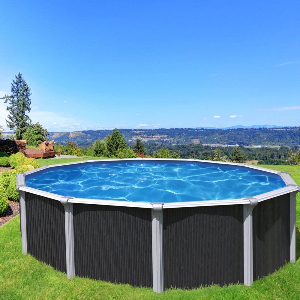 piscine hors sol acier diametre 4 90m anthracite osmose