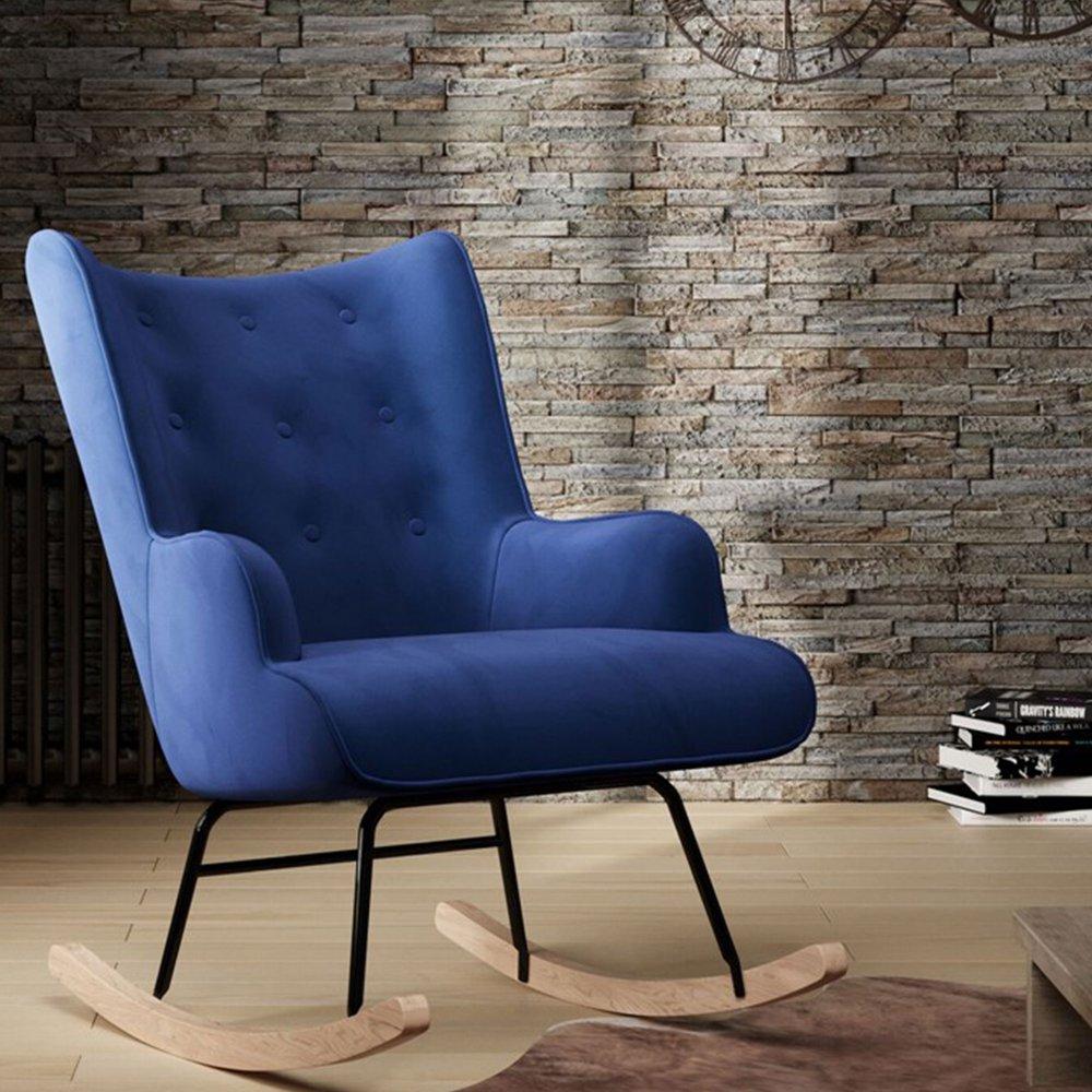 fauteuil a bascule 68x92x100 cm en tissu velours bleu fonce joffry