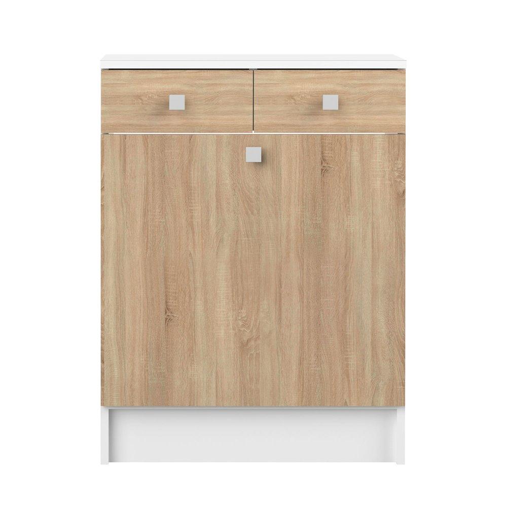 Meuble 2 Tiroirs Et 1 Porte Bac A Linge Decor Chene Et Blanc Roomy Maison Et Styles