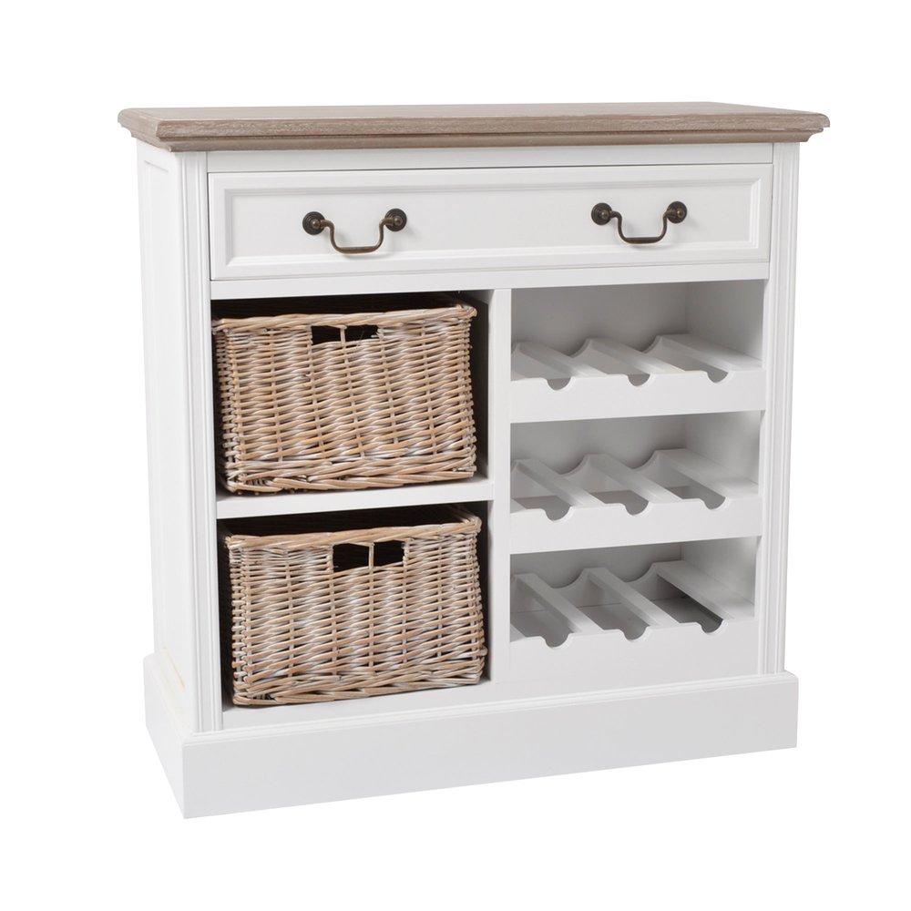 meuble range bouteilles 3 tiroirs en bois blanc et osier