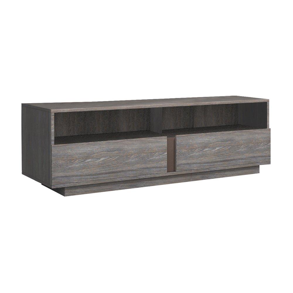 meuble tv 2 tiroirs 150 cm en chene fonce braxy