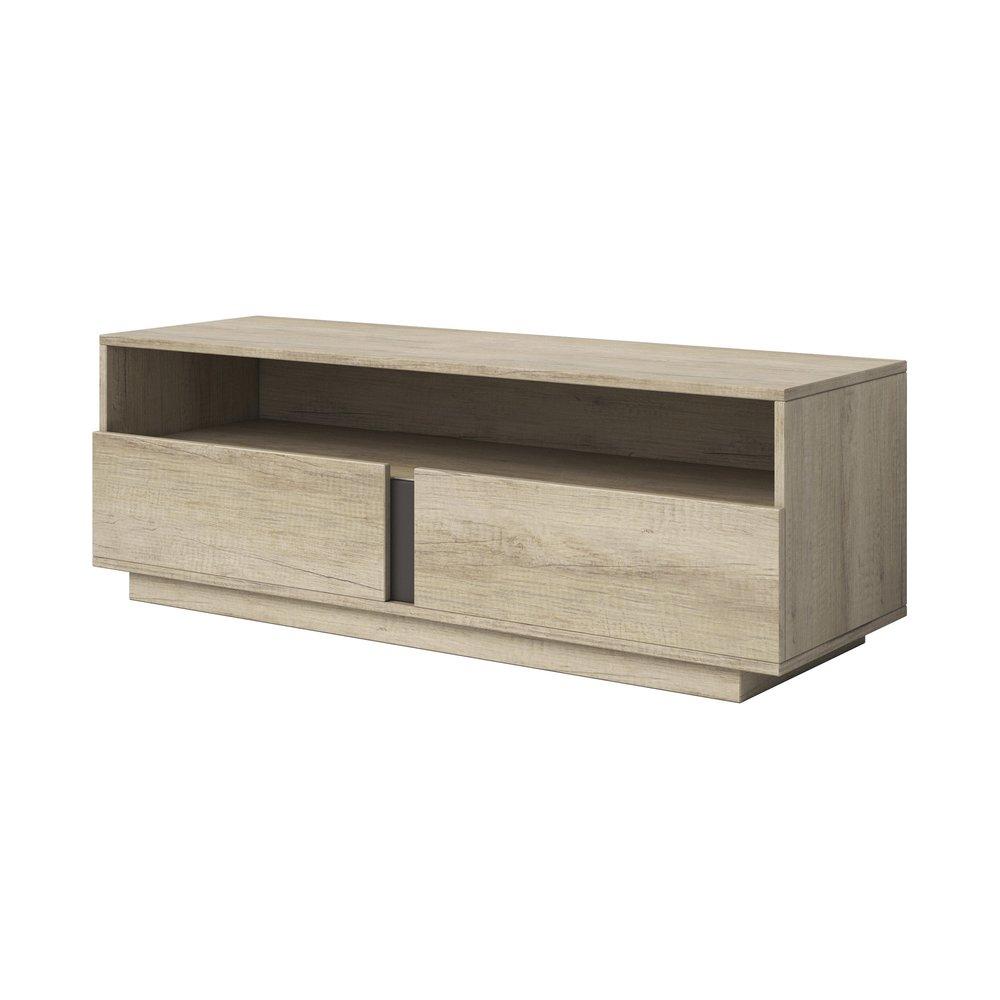 meuble tv 2 tiroirs 150 cm en chene clair braxy