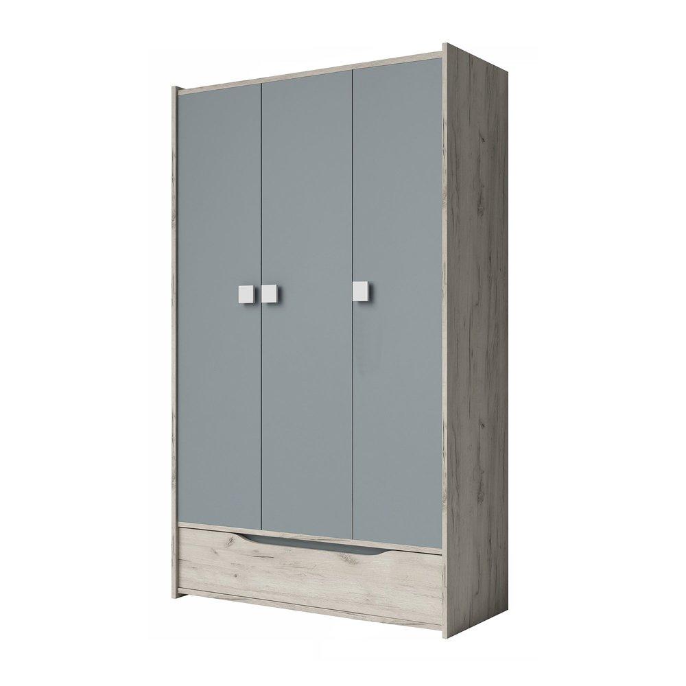 armoire 3 portes et 1 tiroir 120 cm decor chene clair et gris inaya