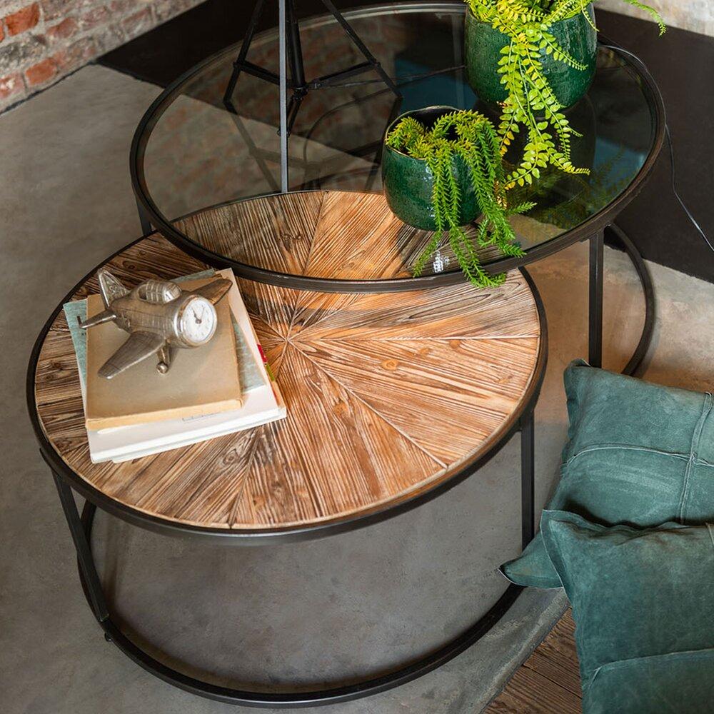 lot de 2 tables basses 91 et 74 5 cm en verre bois et metal
