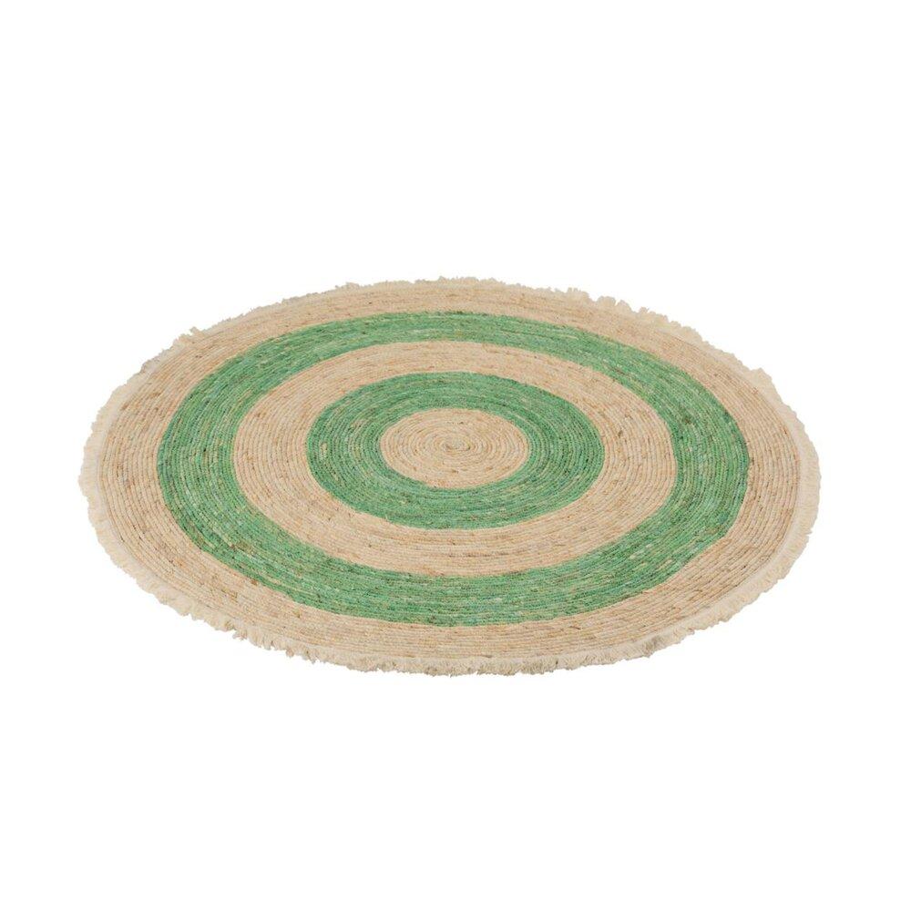 tapis rond 120 cm en osier beige et vert belly