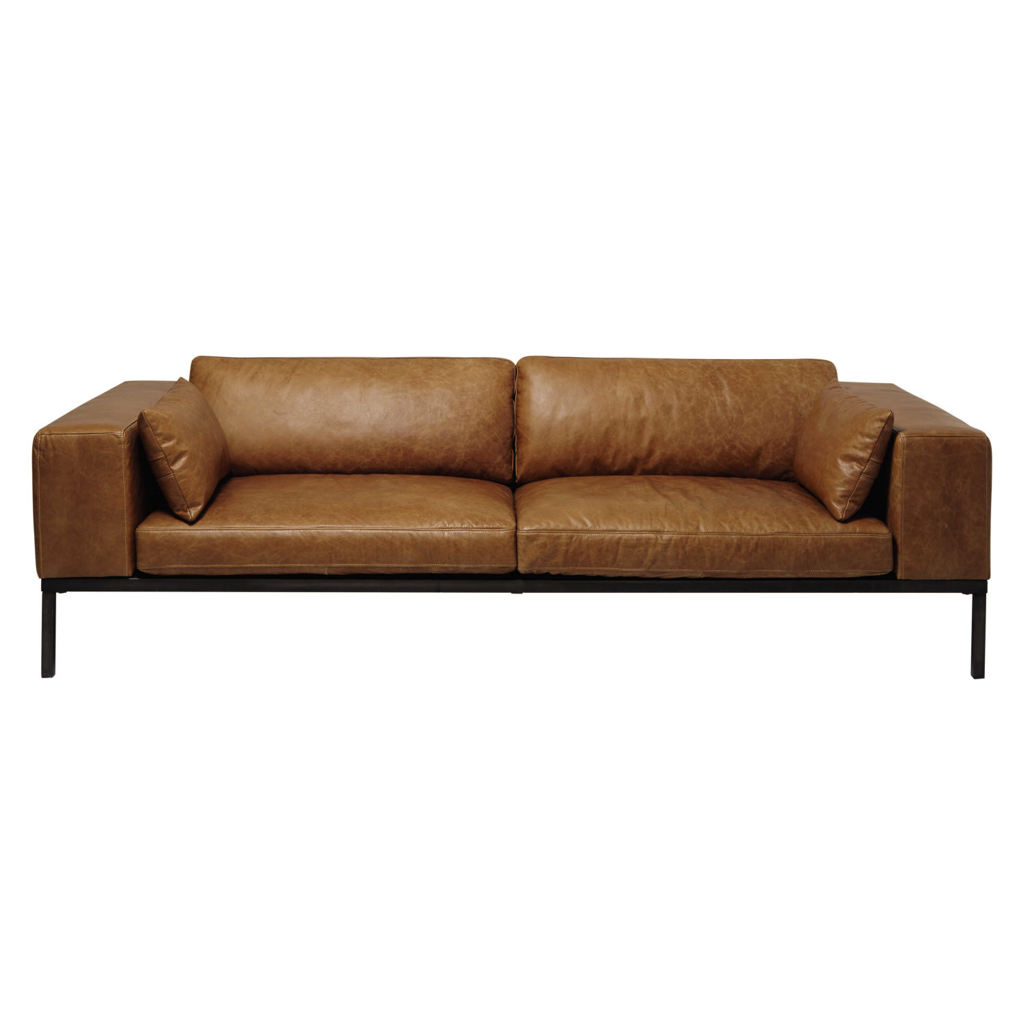 camel colored leather sofas slide out sofa sleeper 4 seater in maisons du monde