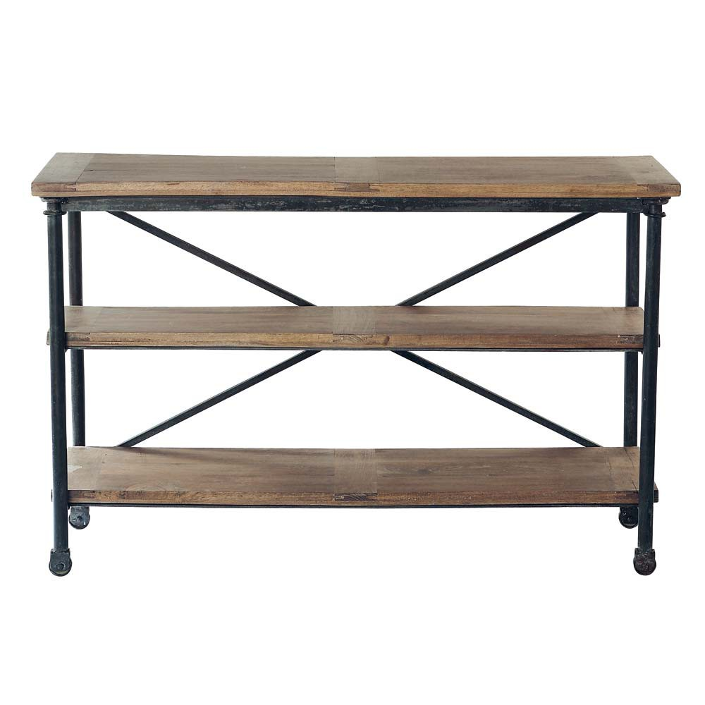 Beautiful Solid Mango Wood And Metal Console Table On