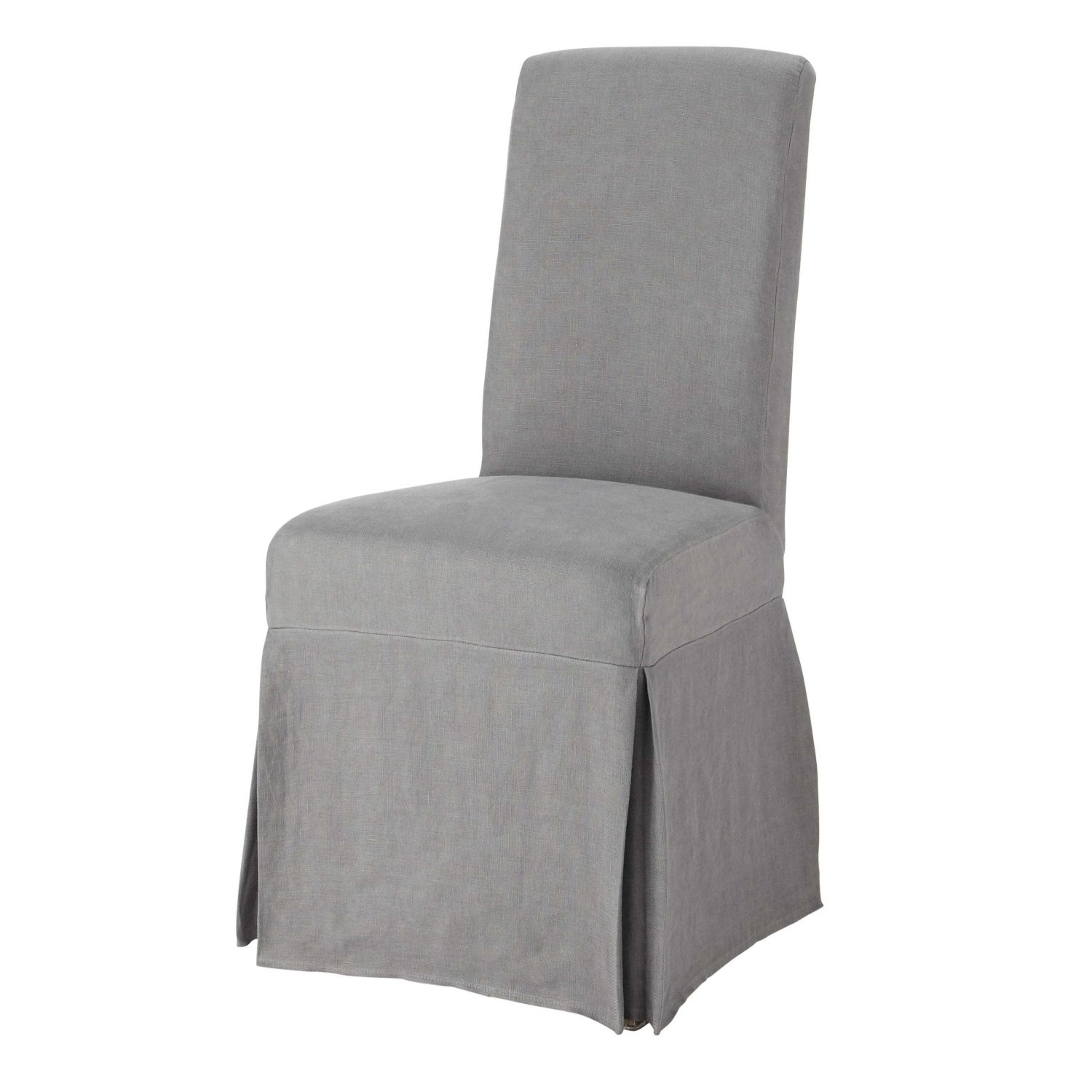 chair leg covers christmas dining seat diy washed linen long cover in grey maisons du monde