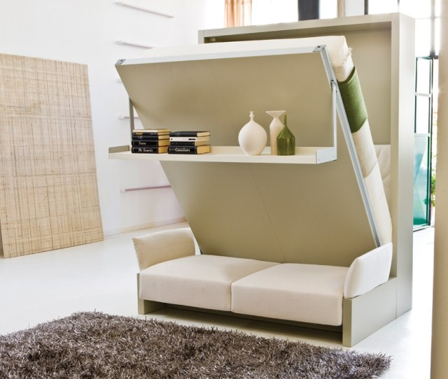 A Nuovoliola Murphy Bed From Resource Furniture That Includes A Sofa And Storage Shelf