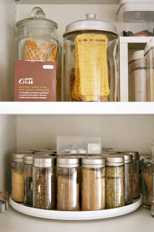 lazy susan spice rack organizes the pantry