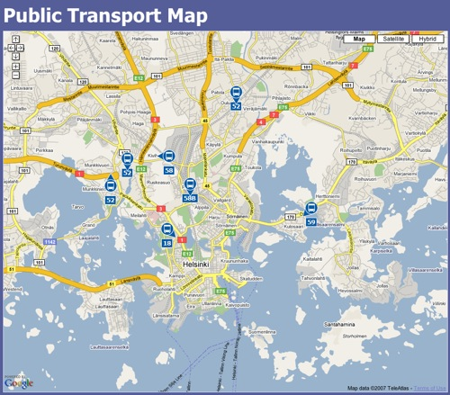 HKL Public transport map Google GPS Buses Make