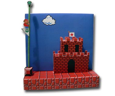 super mario brothers papercraft diorama make