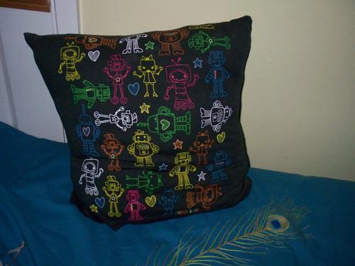 glow in the dark robot pillow