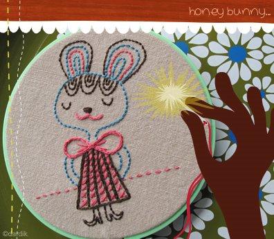 H Dardik Bunny Embroidery