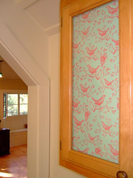 glasscabinetpaper_birdselect1.jpg & How-To: Add Decorative Paper to Glass Doors | Make: