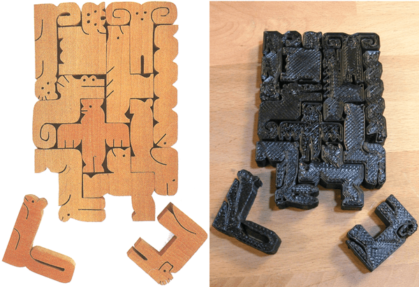 Slocum-Bottermans Puzzles p40 Sabu Oguro U-Plan Animal Solid Pentominoes and My Version.png