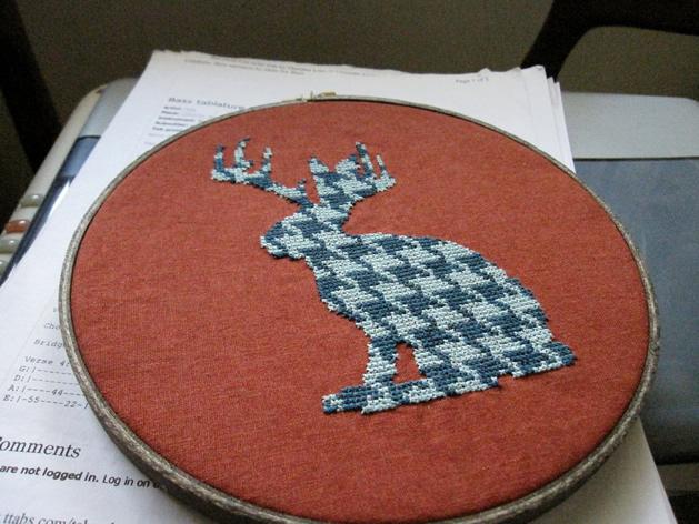 houndstooth cross stitch jackalope