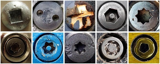 Selection of images from tamper-'proof' screws Flickr pool.