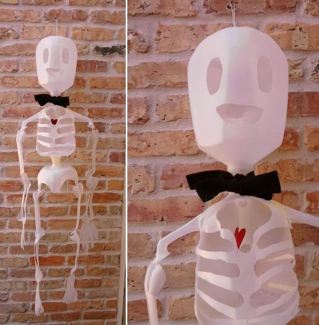 Plastic milk jug skeleton