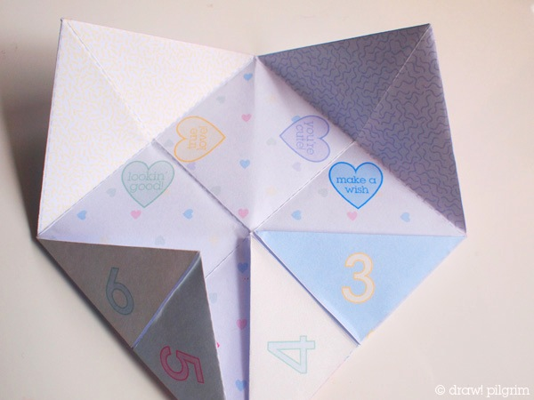 printable valentine fortune teller make
