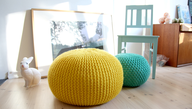 Giant Knitted Pouf Make Classy Turquoise Knitted Pouf