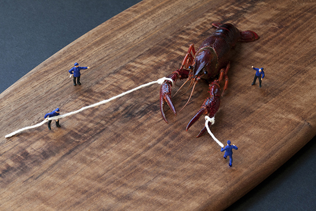 mini men taming a lobster.jpg