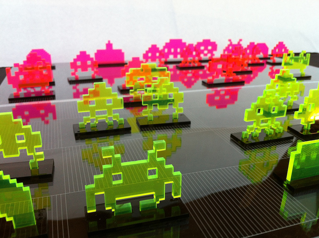 Acrylic Space Invaders Chess Set