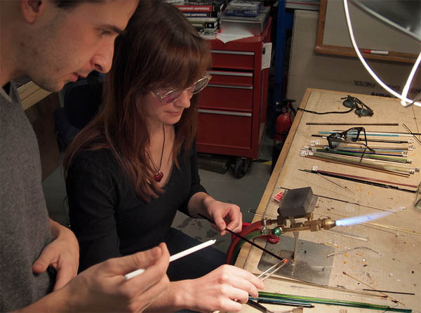 Teaching glass working at Artist Asylum. Image by Chris Connors.