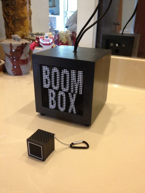 "This ""boom cube"" with carabiner served as the inspiration for Tony's Boom Box."