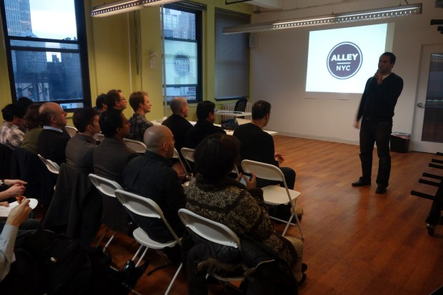 Haytham Elhawary introducing the meetup and giving a shout-out to Alley NYC.
