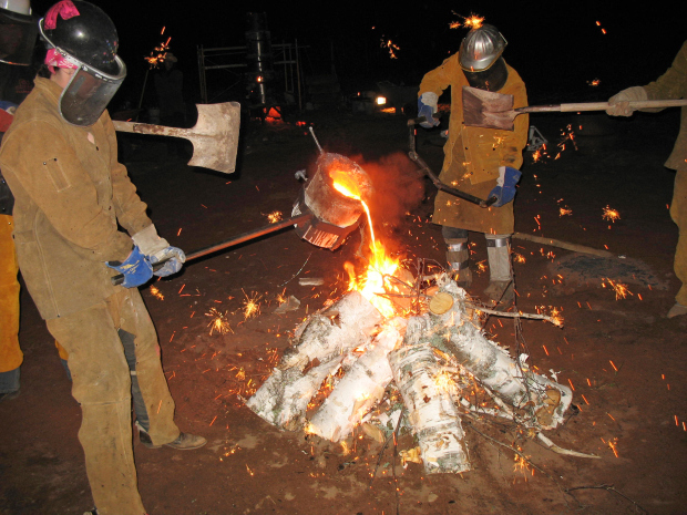 Fire in the hole: Starting a bonfire at Broc Allen's studio.