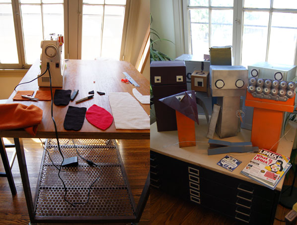 The new fox puppet under construction (left) and an assortment of robot puppets (right)
