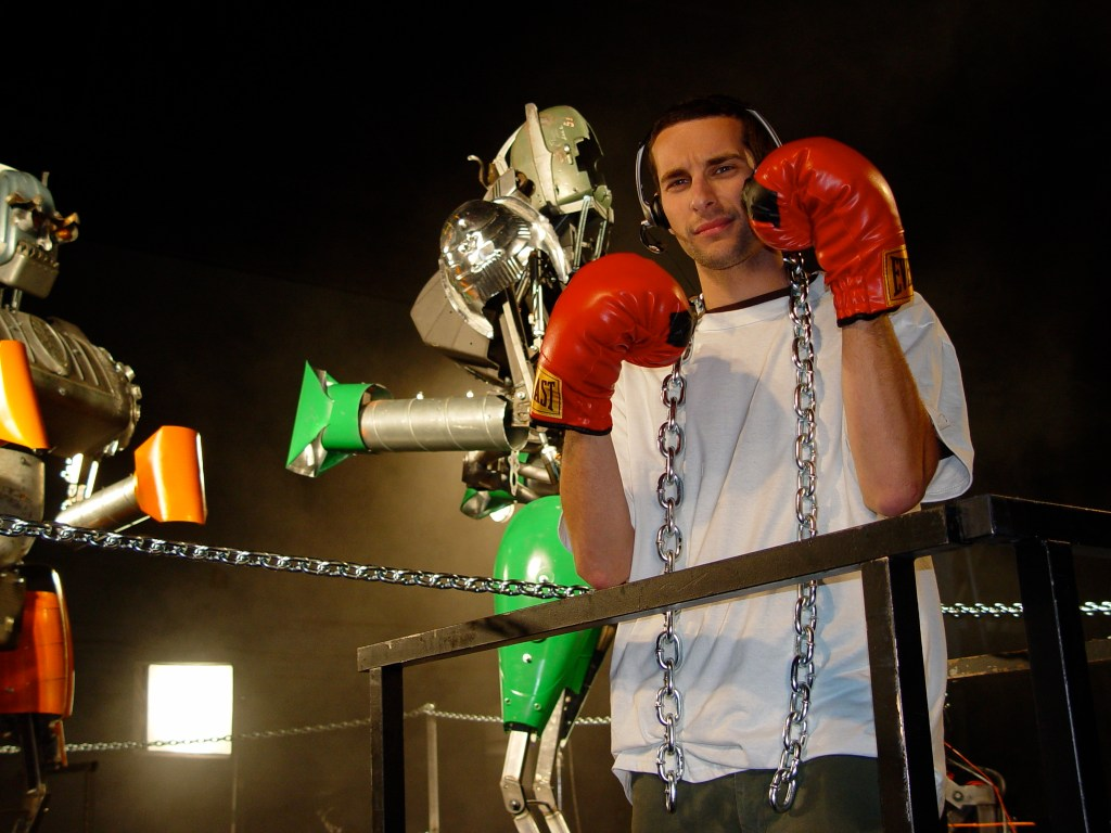 Joe Grand w: Giant Boxing Robots (Prototype This, photo by Boj Florido)