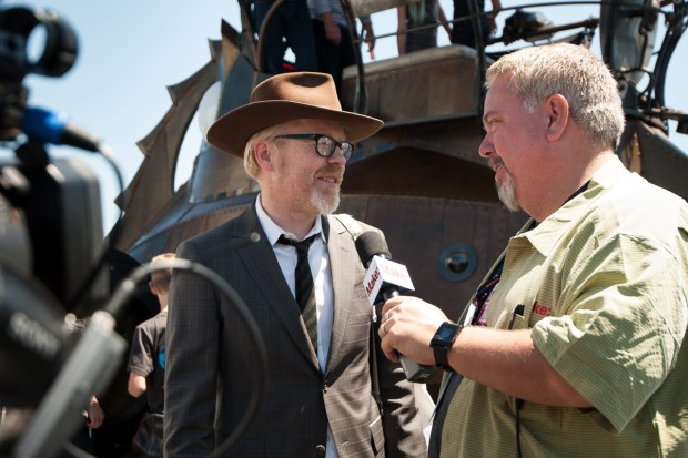 MAKE Editorial Director Ken Denmead interviews Adam Savage on Sunday. (Gregory Hayes/MAKE)