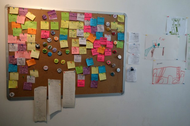 This corkboard included lots of brainstorming ideas from the four workshops in May.