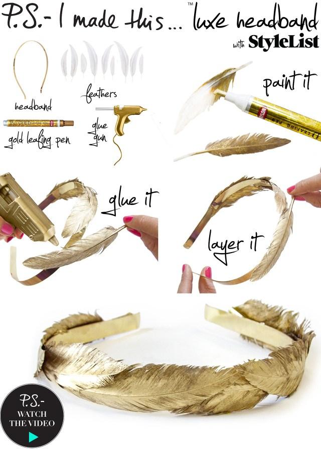 gold feather headband