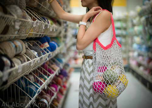 How-To: Crocheted Mesh Bag with Contrasting Color Handles