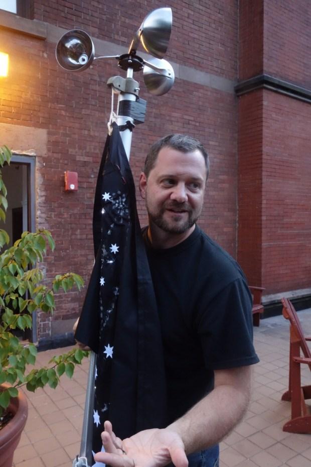 Wind-powered LED flag by Bart Woodstrup.