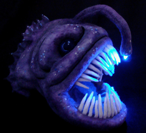 Needle felted light up angler fish sculpture make for Angler fish pet