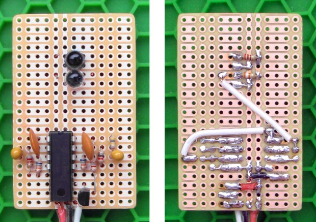 Component- and solder-side views of the complete sensor, without finger cuff.