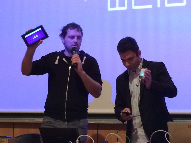 Draško Draškovic (left) and Uroš Petrevski  (right) demoing the prototype WeIO board at the Saint Malo mini-Maker Faire