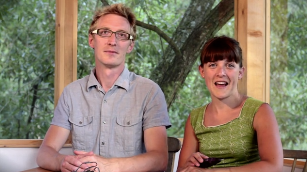 Benedikt and Rosi, in their treehouse