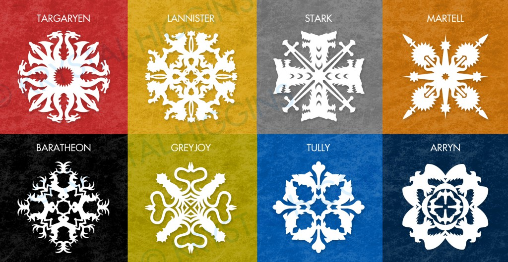 Game of Thrones Paper Snowflake Patterns