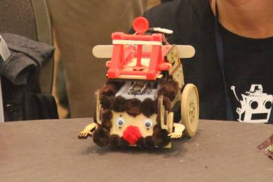 Rudolph the Red-Nosed Robot on display at the RobotsConf science fair.