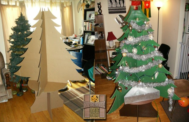 An example of how scrap cardboard can become a lovely Christmas tree