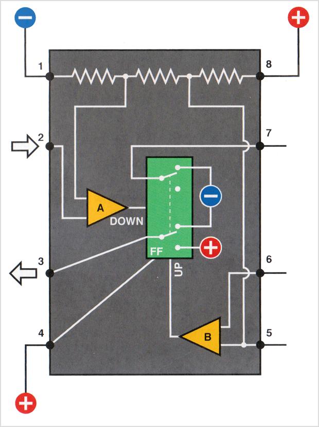 Inside the 555 timer, from Charles Platt's book Make: Electronics, p. 158.