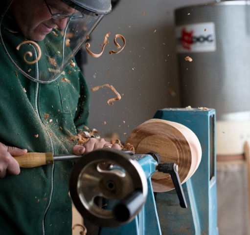 Yale Professor Scott Strobel at work turning a bowl. Photo by Sarah Hill.